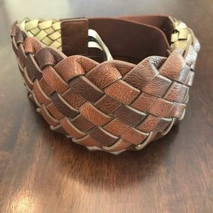 Express 2 Tone Brown Braided Belt w/ Elastic Waist